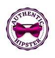 authentic hipster label stamp design bow vector image vector image
