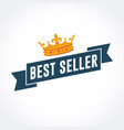 best seller ribbon with gold crown vector image vector image