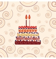 Birthday cake with two candles Two years vector image vector image