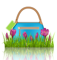 Blue woman spring bag with crocuses flowers and vector image vector image