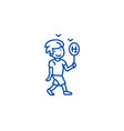 boy walking with candy line icon concept boy vector image