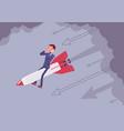 businessman in despair go down on the rocket vector image vector image