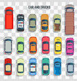 cars and trucks top view vector image