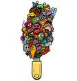 cartoon hand-drawn doodle vector image