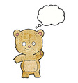cartoon waving teddy bear with thought bubble vector image vector image