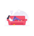 cartoon woman character reading book on sofa at vector image