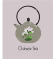 chinese ceramic teapot with lotus flower vector image vector image
