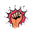 clenched fist held high in protest strength vector image vector image