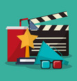 collection cinema movie glasses award soda speaker vector image vector image