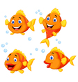 Cute fish cartoon collection set vector image vector image