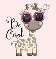 cute giraffe with sun glasses vector image