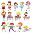 doodle kids character learning set vector image vector image