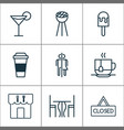 eating icons set with eating house table vector image