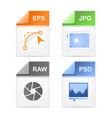 filetype format icons - psd raw jpg eps vector image