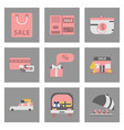 flat assembly icons of set of gifts and discounts vector image vector image