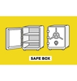 flat line safe boxes open and closed vector image