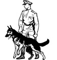Frontier guard with dog vector image vector image