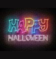 glow greeting card with happy halloween vector image vector image