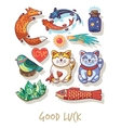 Good Luck Lucky amulets and happy symbols vector image vector image