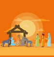 holy family and animals with wize men manger vector image vector image