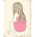 Little girl in a pink dress sitting vector image vector image