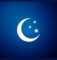 moon and stars icon isolated on blue background vector image