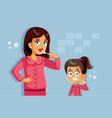 mother and daughter brushing teeth cartoon vector image vector image