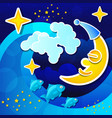 night seascape with full moon and starry sky vector image vector image