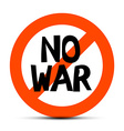 No War Slogan - Title in Red Circle Isolated on vector image vector image