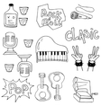 On white backgrounds music set doodles vector image vector image