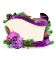 Paper scroll with purple ornaments vector image vector image