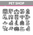 pet shop collection elements icons set vector image vector image