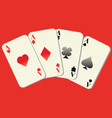 Playing cards with red background