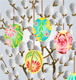 Pussy willow and easter eggs vector image vector image