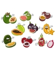 Ripe exotic asian fruits characters vector image vector image