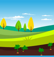 rural landscape agriculture field with carrots vector image