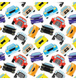 seamless pattern with colored cars vector image