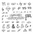 set chalkboard style ampersands vector image