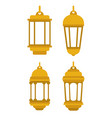 set lanterns gold icons vector image