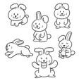 set of rabbits vector image