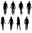 silhouette group of people standing on white vector image