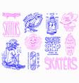 skateboard shop badges set dinosaur and skeletons vector image vector image