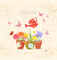 spring flowers planted in ethnic flowerpots with vector image