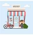 stylish barber standing vector image vector image