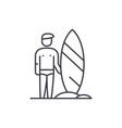 surfer line icon concept surfer linear vector image vector image
