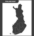 the detailed map of the finland with regions vector image