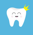 tooth health icon wearing crown cute funny vector image