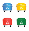 trash cans in diffrent color vector image vector image