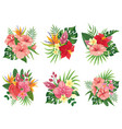 tropical flowers bouquet exotic palm leaves vector image vector image