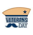 veteran day label with a military hat vector image